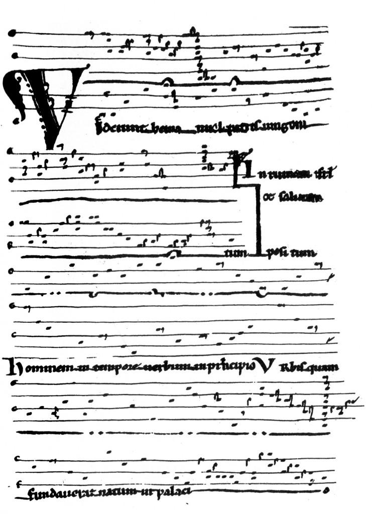 Le rapport du point à la ligne de la portée définit clairement la hauteur des notes dans cet extrait du Manuscrit de Saint-Martial de Limoges du XIIe siècle