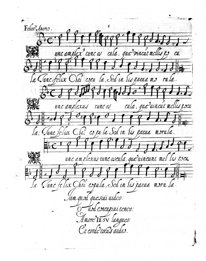 La plus ancienne gravure sur metal, est un recueil de Canzonetti appelé Diletto Spirituale et est édité à Rome par Simone Verovio en 1586. Elle reproduit la calligraphie manuscrite de l'auteur sur une plaque de cuivre, comme s'il s'agissait encore d'un dessin travaillé au burin