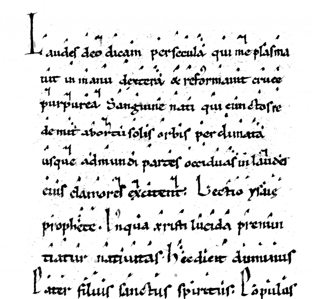 Virga : Le mouvement de plume oriente la hauteur de la voix dans la notation neumatique ici franco-messine sans lignes du XIIe siècle.