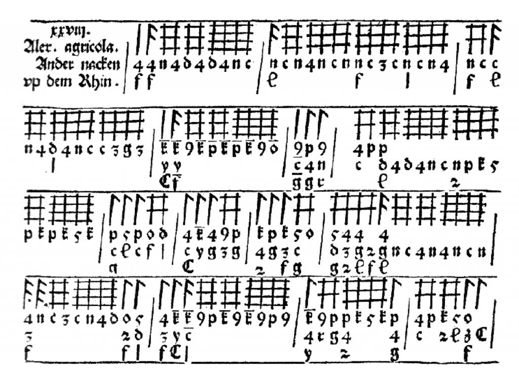 La tablature de luth allemande du début du XVIe siècle ne représente pas les cordes mais les positions de jeu par combinaison de traits.