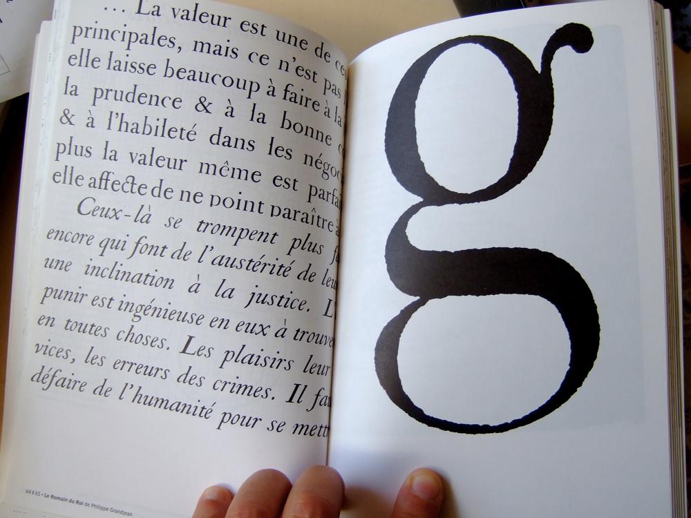 Philippe Grandjean, g bas de casse corps 56, 1693-1745 (Muriel Paris, Des caractères, IDA Patoux, Paris, 2002, pp. 64-65