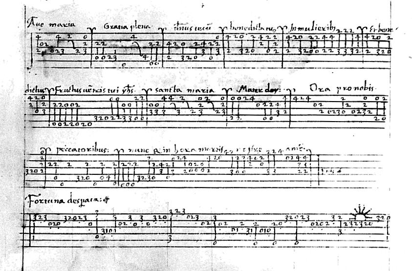 La tablature de luth italienne, ici présentée avec le Ave Maria de Bartolomeo Tromboncino, vers 1521, est très proche du modèle actuel. Les chiffres déterminent les cases sur les cordes représentées par les lignes.