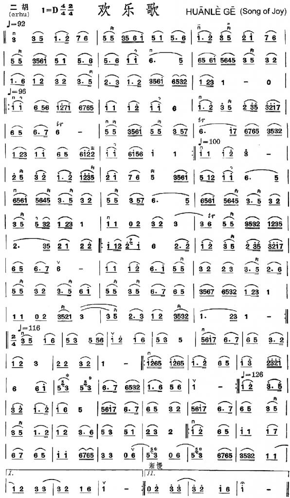 Cet exemple de musique écrite en jianpu : Huan Le Ge, ( Chant traditionnel chinois, La chanson de la joie ) ne présente que peu de différences formelles avec la proposition d'écriture de la musique de Jean-Jacques Rousseau.