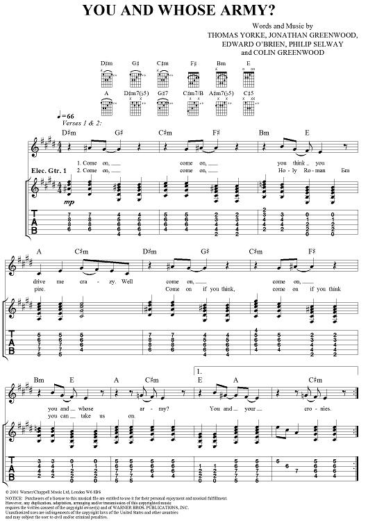 Cette tablature du morceau You and whose army ? de Radiohead ( issue du songbook de l'album Amnesiac ) présente les diagrammes et le chiffrage américain des accords ainsi que la tablature pour les parties de guitare ( en plus des partitions classiques et des paroles )