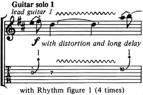 Une notation possible de la technique du bend se dessine à l'aide d'une flèche montant de la note jouée vers l'écart demandé ( ici +1 ton ) et reproduit graphiquement le geste des doigts sur le manche. ( Ici, les deux premiers bends du chorus de guitare du morceau Money de Pink Floyd )
