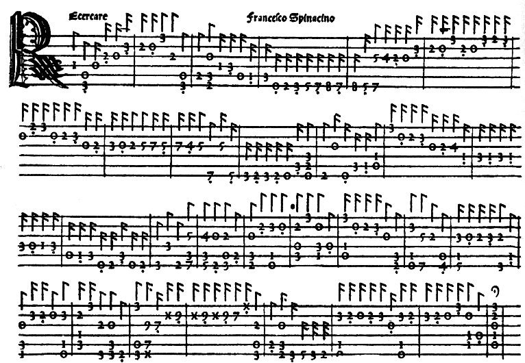 Cet extrait d'une tablature de luth de 1507 est imprimé par Ottaviano Petrucci en double passages successifs : d'abord les lignes, puis les chiffres.