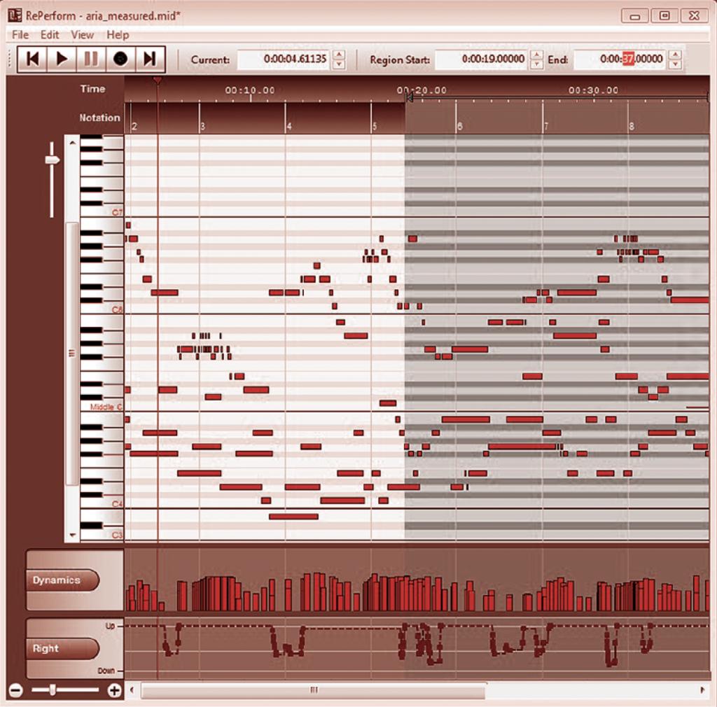 Visualisation possible d'une séquence MIDI dans un éditeur musical : les notes sont présentées sur le même axe que les touches du clavier à gauche.