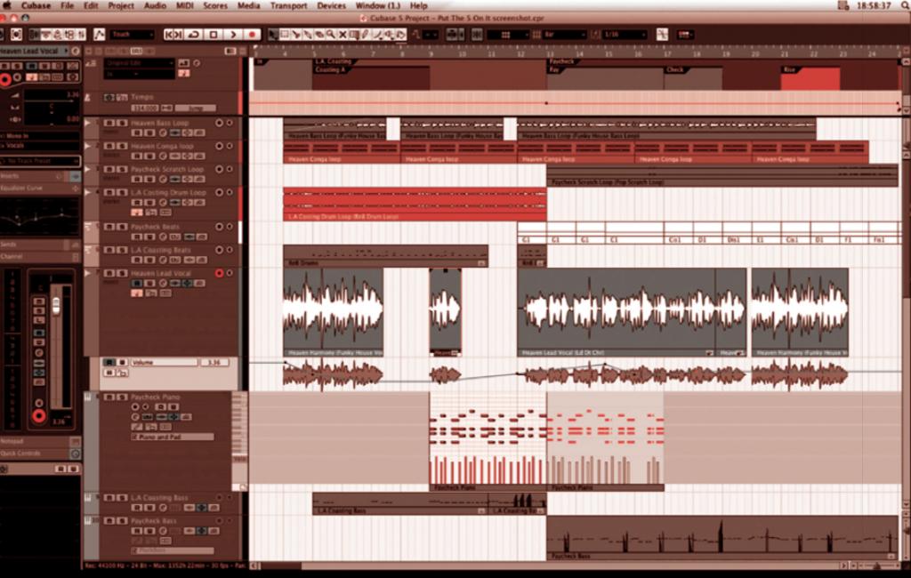 Cubase, de Steinberg, (2012) présente de gauche à droite, les commandes de la piste sélectionnée, puis les eff ets de toutes les pistes et enfi n, tous les fragments audio qui se superposent.