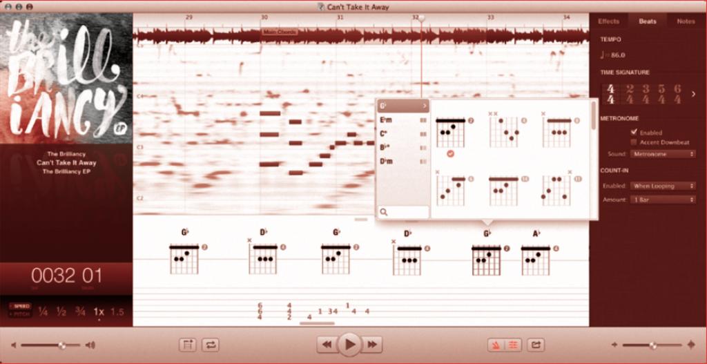 fi gure 39 Capo3 présente successivement, et de haut en bas, les courbes de volumes du morceau, puis son acousmographie ( spectre fl ou ) sur lequel des blocs redessinent clairement les hauteurs des notes. Les diagrammes sont proposés au dessus de la tablature possible du morceau. Tout en bas se situent les commandes du programme.