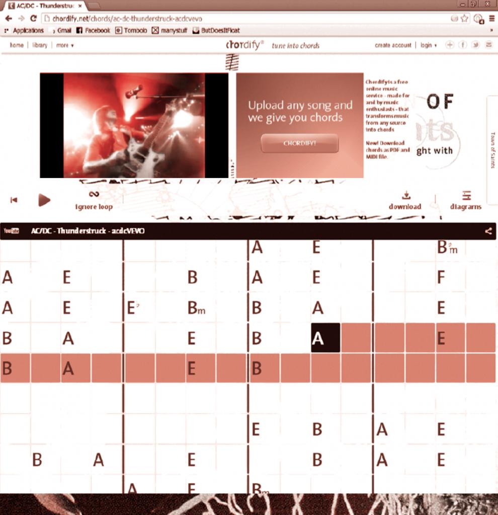 Une page type de Chordify, comprend : en haut à gauche le lecteur Youtube diff usant le clip du morceau ; en milieu de page le navigateur et les commandes de lecture ; et en bas , la grille interactive des accords.