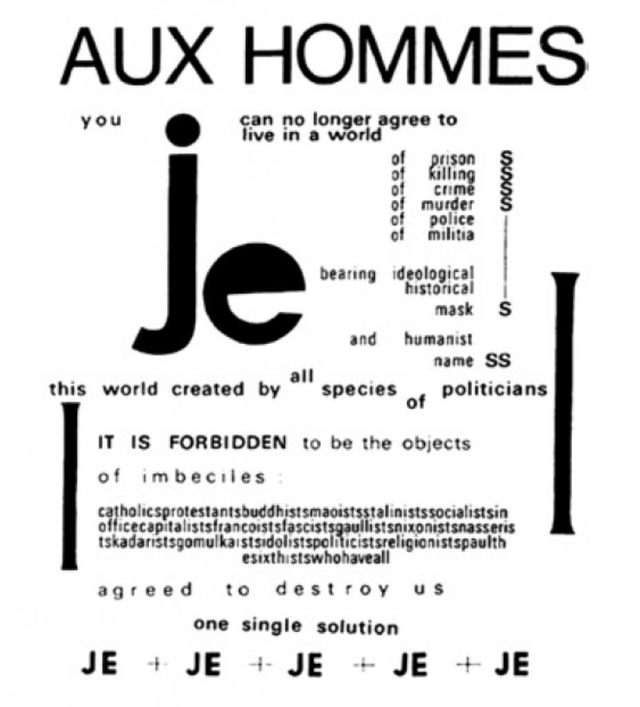 Dans son poème Aux hommes de 1969, Henri Chopin joue des contrastes d'échelle et de noirs typographiques.