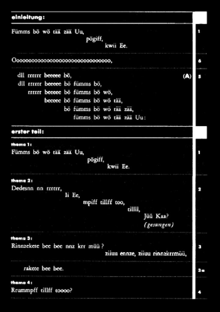 Cet extrait de l'Ursonate de Kurt Schwitters mise en page par Jan Tschichold tient sa force dans sa rigueur de composition typographique.