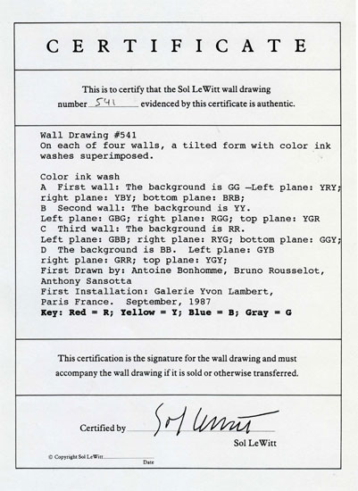 Sol Lewitt, Certificate n° 531, 1987