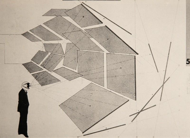 Herbert Bayer, Zeichung den architekturFotoschau in Perspective und Schnitt, 1930.