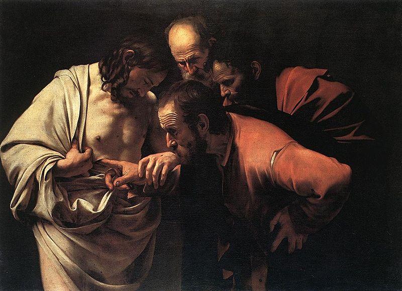 MichelAngelo Merisi da Caravaggio (Caravage), L'incrédulité de Saint thomas, 1603
