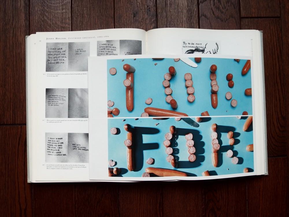 Le projet «having guts always work out for me» et au fond le livre Masculin/Féminin, Le sexe de l'art, catalogue d'exposition du centre Pompidou, 1995 avec «Les pauvres» de Jenny Holzer et Sue Williams.