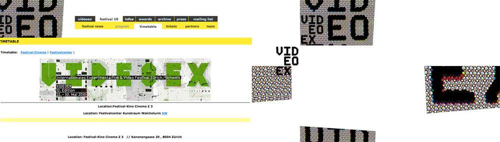 Capture du sites internet réalisé par Martin Woodtli pour VideoEx en 2009