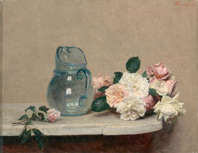 Henri Fantin-Latour, Roses, 1889, Lyon, musée des Beaux-Arts. Paul Claudel aurait écrit à ce sujet «chaque tableau apporte avec lui un carré de silence et une raison à notre ramage intérieur de s'interrompre».