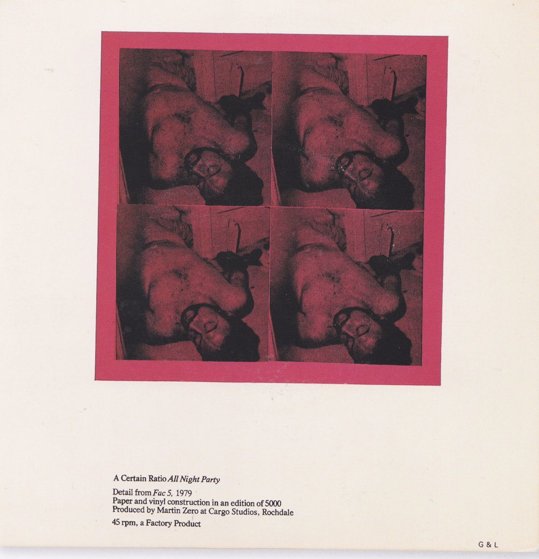 Fac 5 A certain Ratio All Night party / single, 1979, Peter Saville