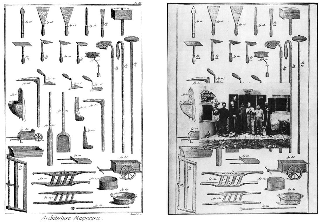 Diderot, Denis, L'Encyclopédie [34], Maçonnerie, marbrerie:  [Recueil de planches sur les sciences, les arts libéraux et les  arts mécaniques, avec leur explication], [fac-similé].  Diderot et d'Alembert, 1751-1780. Source, Gallica;  URL: http://gallica.bnf.fr/ark:/12148/bpt6k9976s/f68.item  Global Tools, Bulletin n°1, Édition «L'uomo e l'arte», 1974, p.5.