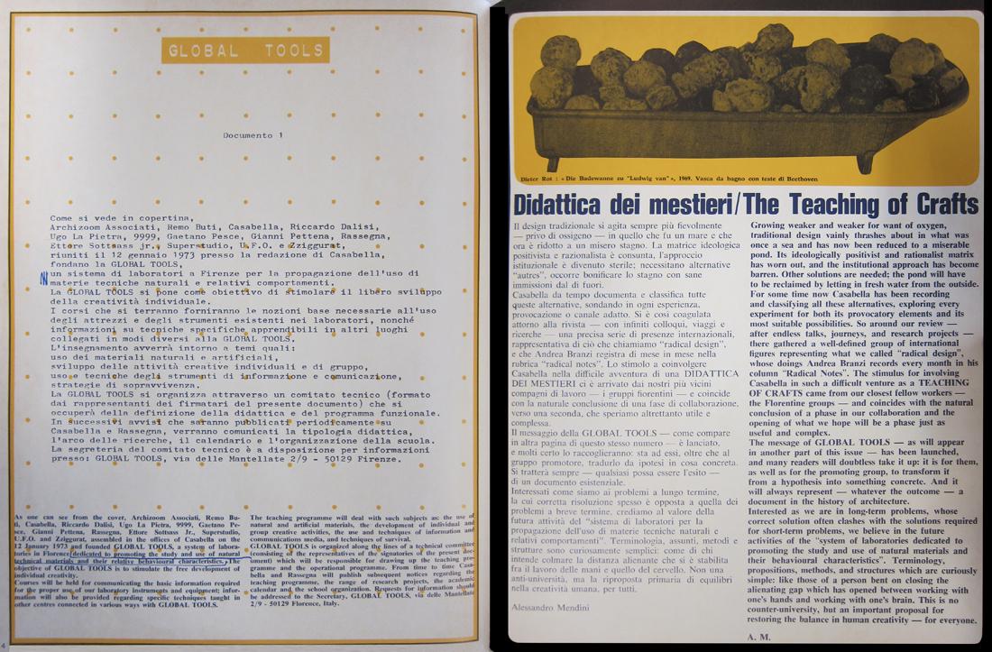 Présentation de la Global Tools (document 1) et article d'A. Mendini, «Didactique des métiers»,  extrait reproduit in Revue Casabella n°377, 1973, pp.4-5.