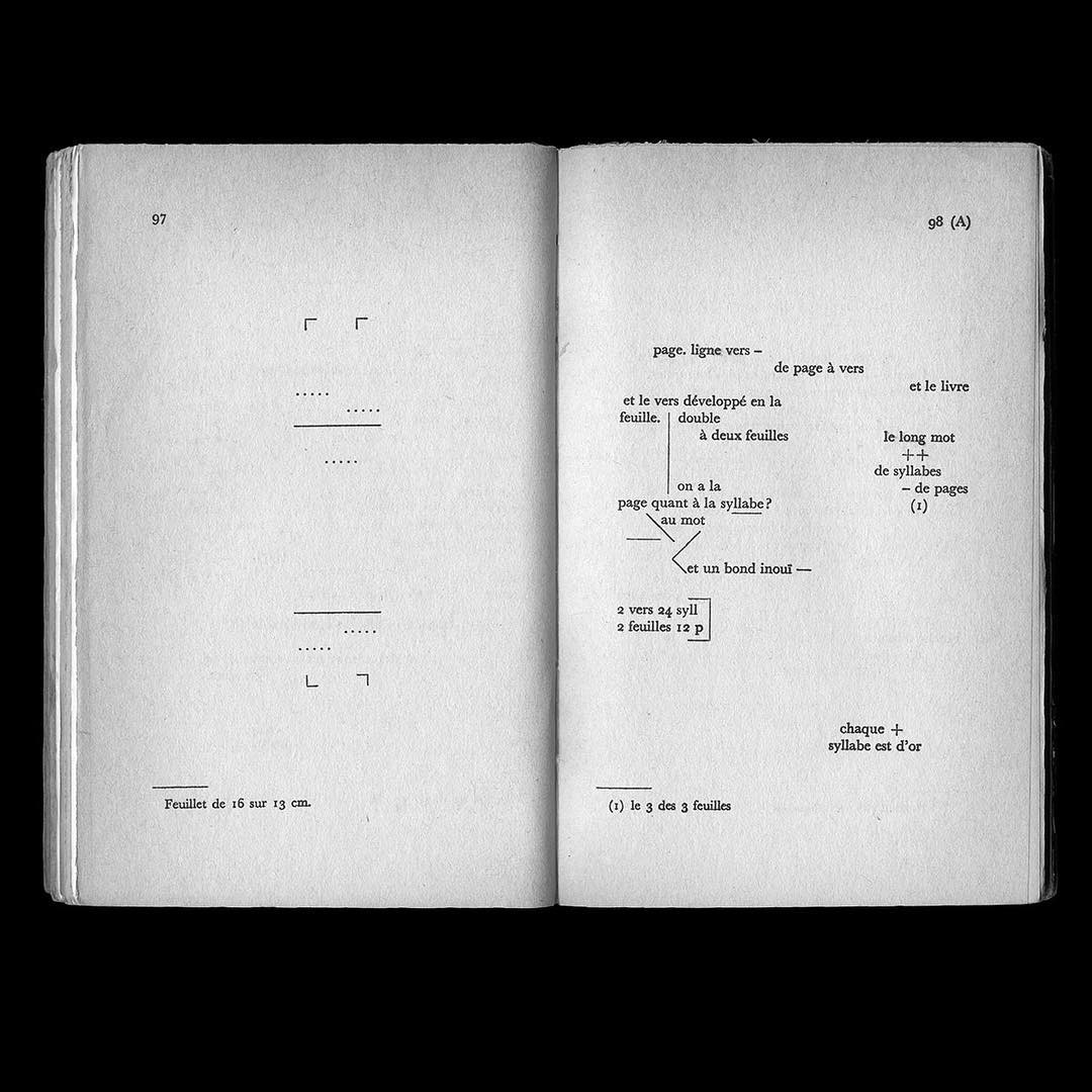"https://www.instagram.com/p/BPdtylvDzg1/ Alexandru Balgiu, Designing Writing Jacques Scherer's study on Mallarmé's ""Book"", Gallimard, Paris, 1957"