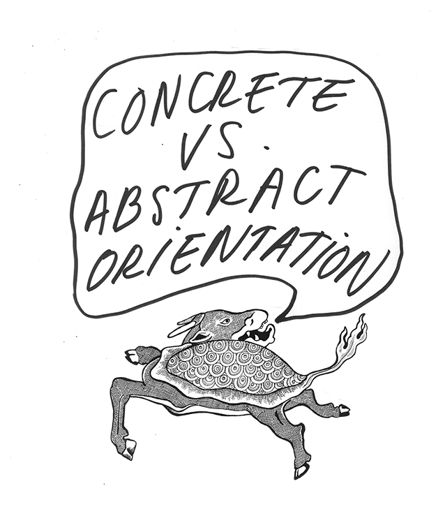 """Most ordinary conversation leans heavily on figurative language. A """"normal"""" speaker, given the choice of an abstract or concrete interpretation of an ambiguous word such as """"concrete"""" will tend to err in favor of the abstract. The opposite is true in schizophrenics who tend towards an over-literal bias."""