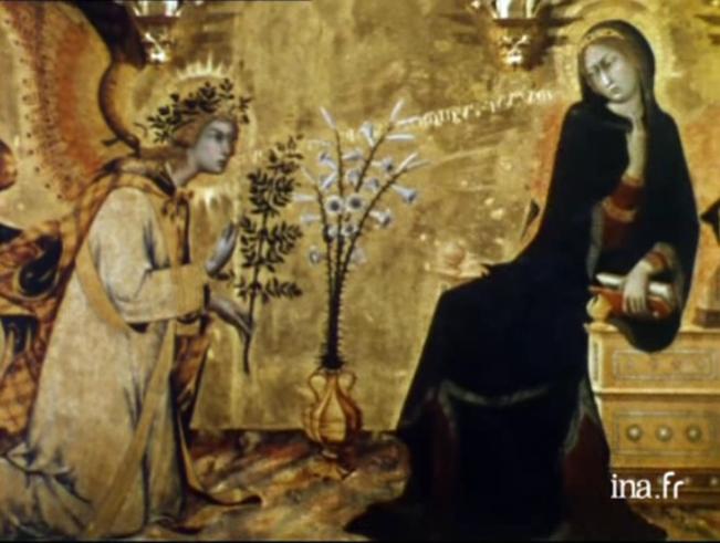 Simone Martini, L'annonciation et deux saints, Florence, 1333. Extrait de: Clovis Prévost, «Les dieux de la nuit et du soleil», Les métamorphoses du regard, 1974.