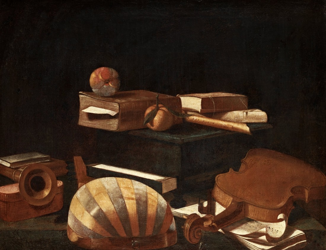 https://fr.wikipedia.org/wiki/Evaristo_Baschenis Nature morte avec instruments de musiques et pommes