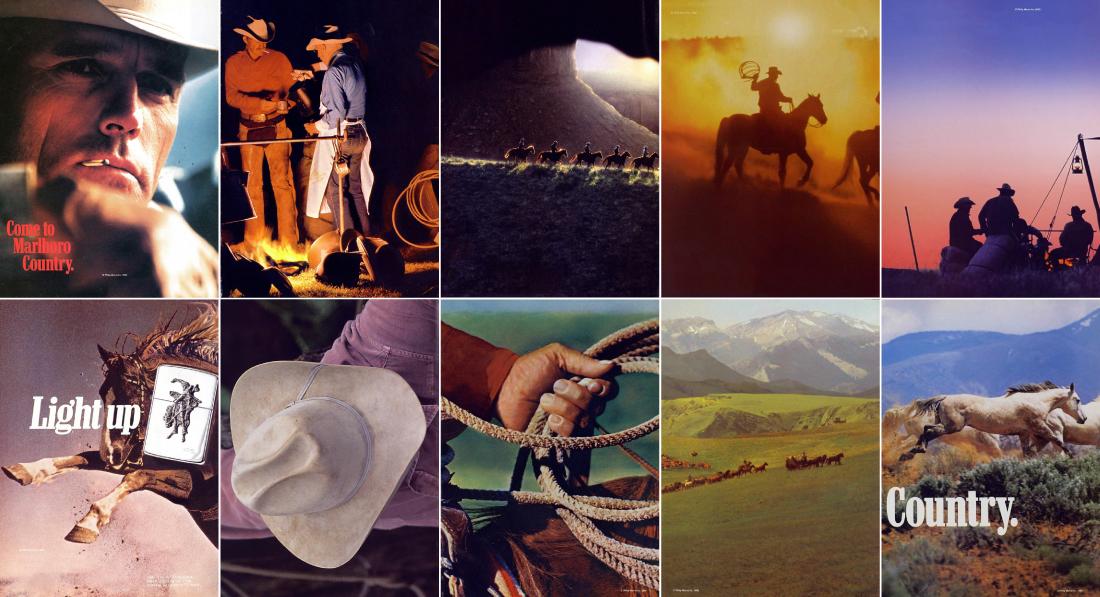 Publicités Marlboro, par ordre d'apparition Première ligne : 1961, 1987, 1999, 1999, 2001 Deuxième ligne : 1991, 1998, 1984, 1985, 1988