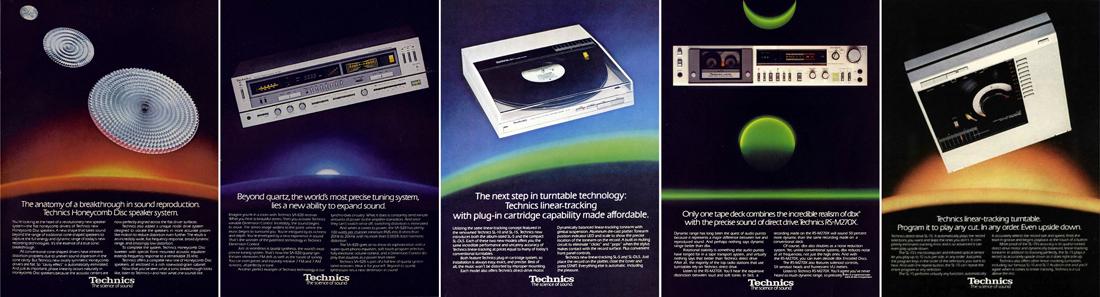 visuels publicitaires pour la marque Technics c. 1980