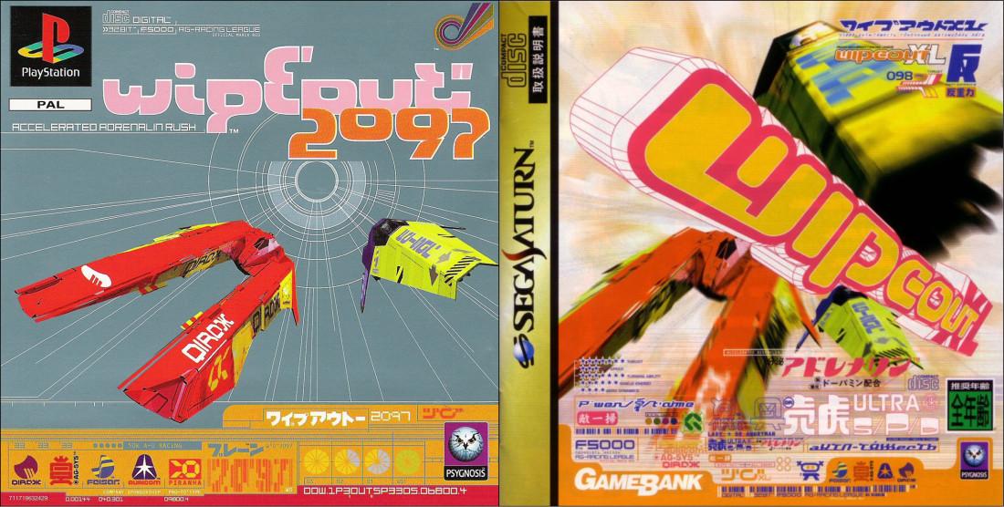 Wipeout 2097/XL, 1996. Couverture Playstation (recto), 1. Version pour le marché européen. 2. Version pour le marché japonais.