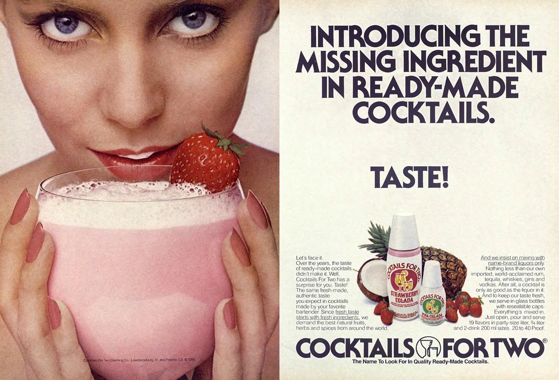 Publicité Cocktails for Two, 1980