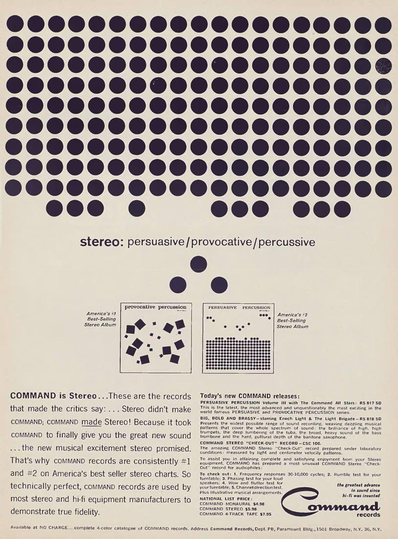 Publicité The Command, 1959, d'après un visuel de Josef Albers pour les pochettes du label