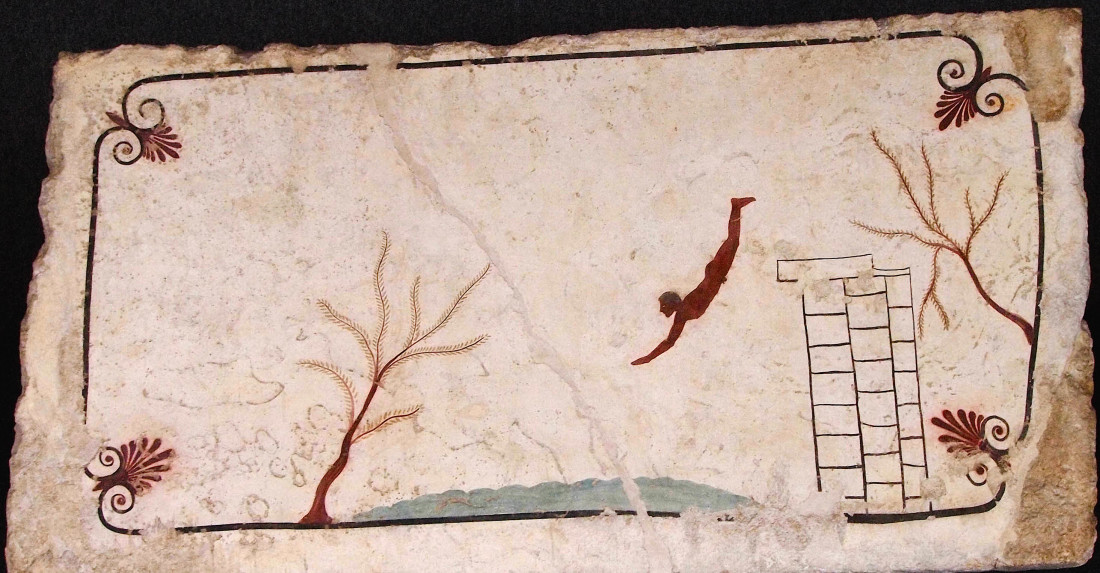 Fresque de la Tombe du Plongeur, tombe à caisson de Poseidonia, Italie du Sud (Grande Grèce), vers 480-470 avant notre ère