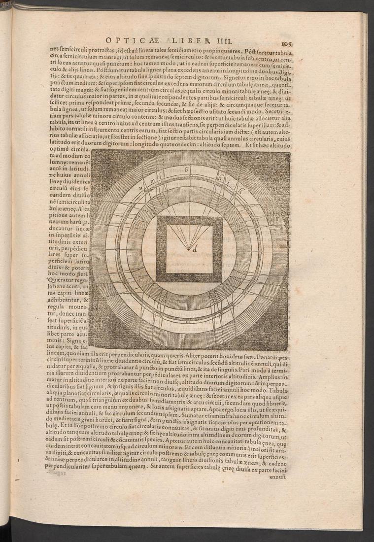 Alhazeni, Opticae Thesaurus (1015-1021), Basilae, 1572, p. 105 © ETH Bibliothek, Zürich